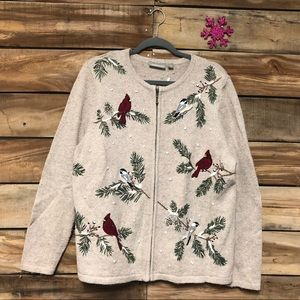Croft & Borrow zip tan cardinal Christmas sweater